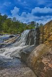 The Big Waterfall and Rock Wall in HDR. `The Big Waterfall and Rock Wall in HDR`, is a photo taken at Flat Rock Park, in Columbus, Georgia royalty free stock photo