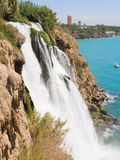 The Big waterfall in Turkey,Antalya. The Big waterfall in Turkey, Antalya. Mediterranean Sea royalty free stock photography