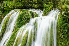 Big waterfall view in the national Park of Plitvice in Croatia Royalty Free Stock Image