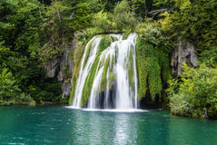 Big waterfall view in the national Park of Plitvice in Croatia Royalty Free Stock Images