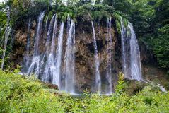 Big waterfall view in the national Park of Plitvice in Croatia Stock Photography