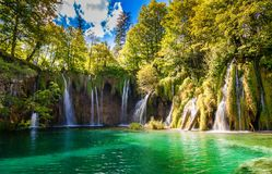 Big waterfalls in Plitvice Royalty Free Stock Photography