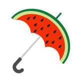 Big watermelon slice cut with seed. Umbrella shape. Flat design icon Summer autumn fall time. White background. Isolated. Royalty Free Stock Photos