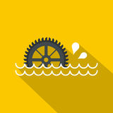 Big waterwheel icon, flat style Stock Photo