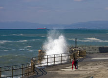 Big wave. S on the Italian Riviera coast royalty free stock images