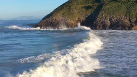 A big wave in the bay stock footage