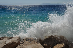 Big wave on the beach. Podgora, Croatia Royalty Free Stock Photography