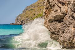 Big wave on the beach of Torrent de Pareis stock photography