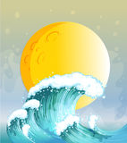 The big wave and the big sun. Illustration of the big wave and the big sun Stock Image