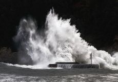 Big wave breaking on breakwater on Plentzia Royalty Free Stock Images