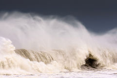 Big wave breaking on windy day Royalty Free Stock Image