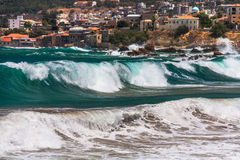 Big wave in Chania. Stormy but sunny day in Chania, Crete, Greece Royalty Free Stock Photography