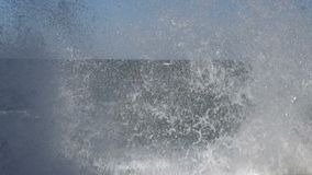 Big Wave Crushing at Concrete Seafront Embankment stock video footage