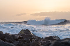Big wave going to the rocky coast at sunset Stock Photography