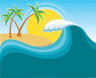 Big wave near tropical sun island. Vector water background Royalty Free Stock Photo