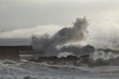 Big wave splash. Soft backlit big wave splash in the middle of moisture royalty free stock photo