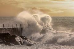 Big wave splash at sunset Royalty Free Stock Images