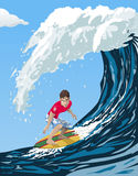 Big wave surfer stock illustration