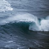 Big wave surfer royalty free stock photography