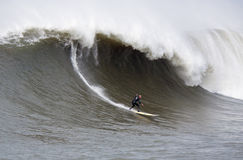 Big Wave Surfer Tanner Gudauskas Surfing Mavericks California Stock Image