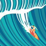 Big wave surfing. Top view of a man on a surfboard. Flat style stock illustration