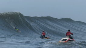 Big Wave Surfing Wipeout at Mavericks Contest Stock Image