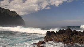 Big waves of the atlantic ocean at Porto Moniz stock video footage