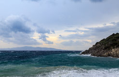 Big waves in the beach in Datca during storm Royalty Free Stock Photo