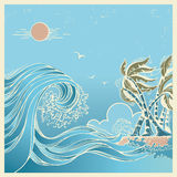 Big waves blue seascape vector illustration