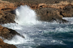 Big waves breahing on rocks of Mallorca Royalty Free Stock Image