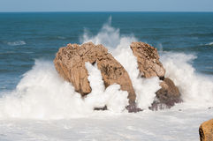 Big waves breaking against the rocks, Urros, Cantabria Stock Photo