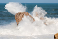 Big waves breaking against the rocks, Urros, Cantabria Royalty Free Stock Images