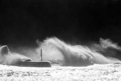 Big waves breaking on breakwater Royalty Free Stock Images