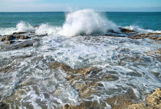 Big waves breaking on the shore Royalty Free Stock Photo