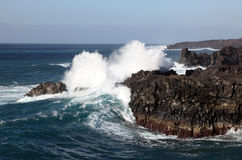 Big waves on the coast of Lanzarote Royalty Free Stock Photos
