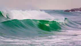 Big waves in a coastal in Costa Brava in Spain.  Royalty Free Stock Images