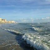 Big Waves with Foam Rolling on Daytona Beach at Daytona Beach Shores, Florida. Royalty Free Stock Photography