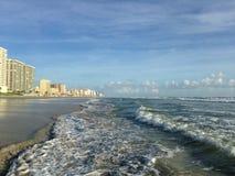Big Waves with Foam Rolling on Daytona Beach at Daytona Beach Shores, Florida. Royalty Free Stock Photos