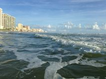 Big Waves with Foam Rolling on Daytona Beach at Daytona Beach Shores, Florida. Stock Images