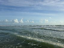 Big Waves with Foam Rolling on Daytona Beach at Daytona Beach Shores, Florida. Stock Photos
