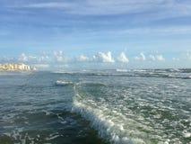Big Waves with Foam Rolling on Daytona Beach at Daytona Beach Shores, Florida. Stock Image