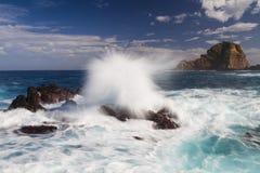 Big waves hitting rocks - Long exposure version Stock Photos