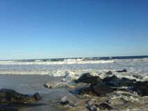 Big Waves on Lido Beach, Long Island. Royalty Free Stock Photography