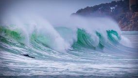 Big waves on the mediterranean ocean in Costa Brava of Spain.  Stock Photos