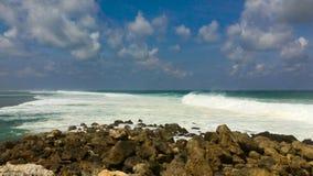 Big waves on the Melasti Beach on the Bali island, indonesia. Big waves on the Melasti Beach on the Bali island, indonesia stock footage