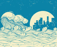 Big waves in night.Vector poster illustration on old paper textu Stock Images