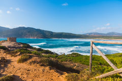 Big waves in Porto Ferro beach Royalty Free Stock Photography