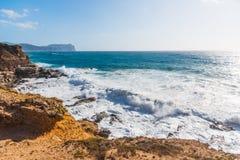 Big waves in Porto Ferro coastline Royalty Free Stock Image