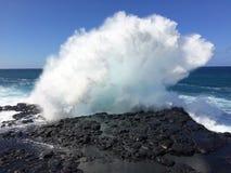 Big Waves in Queen`s Bath in Princeville on Kauai Island, Hawaii. Stock Photos