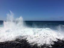 Big Waves in Queen`s Bath in Princeville on Kauai Island, Hawaii. Royalty Free Stock Image